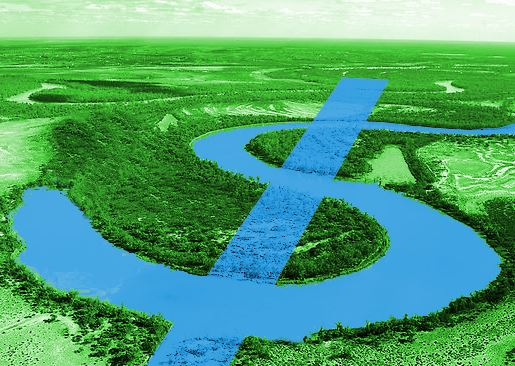 An image of a creek, altered to appear as if an American dollar sign were created by the curves of t